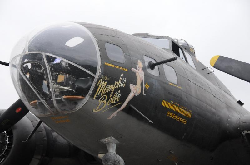 The pinup art is a trademark of the bomber. Each bomb decal denotes a mission; Each swastika denotes a supposed downed German fighter.