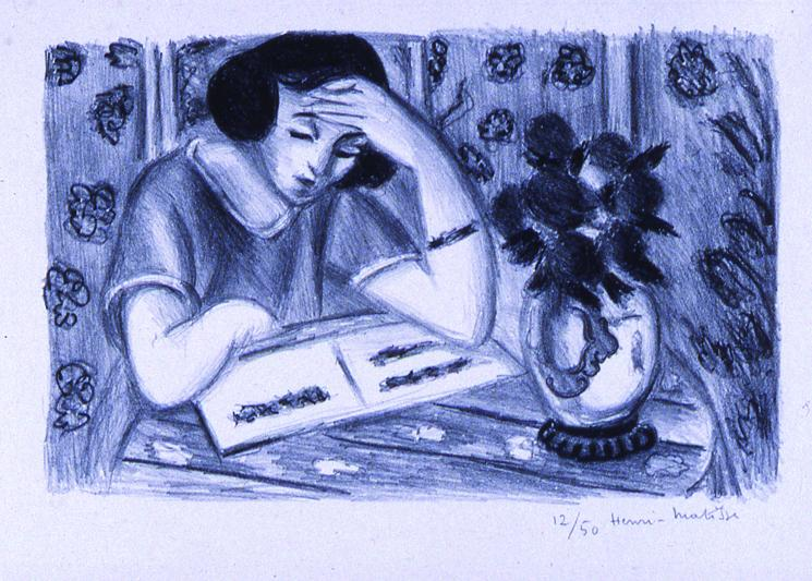 Liseuse Au  Bouquet De Roses (Woman Reading with a Bouquet of Roses) - Henri Matisse
