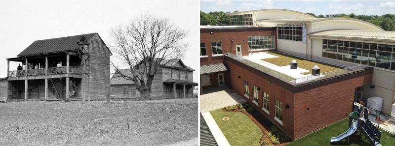 (Left) An Image of the original Orange County Training School, Circa 1916. (Right) The new Northside Elementary School