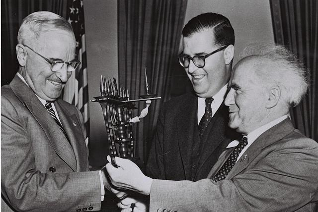 President Harry Truman, Israeli Prime Minister David Ben-Gurion and Israel Ambassador to the U.S. Abba Eban in 1951