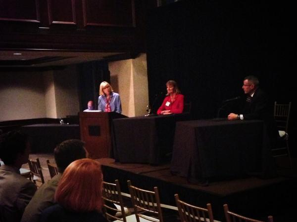 Photo: Justice Robin Hudson (center) and Judge Eric Levinson spoke with at a Supreme Court candidate forum