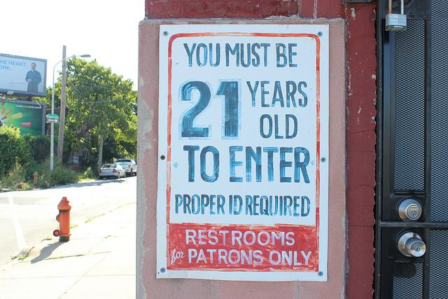 Photo: Sign that says 'You Must Be 21 Years Old To Enter'