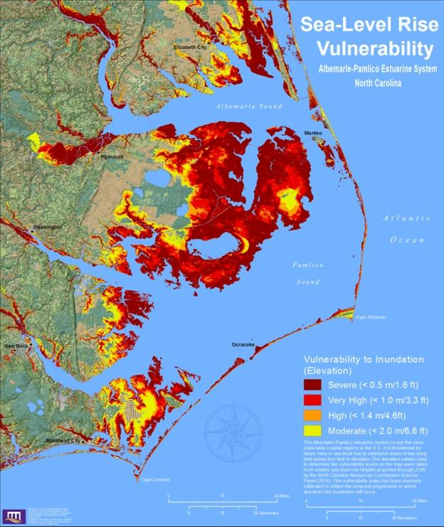 A map shows how various levels of sea-level rise would impact eastern NC.