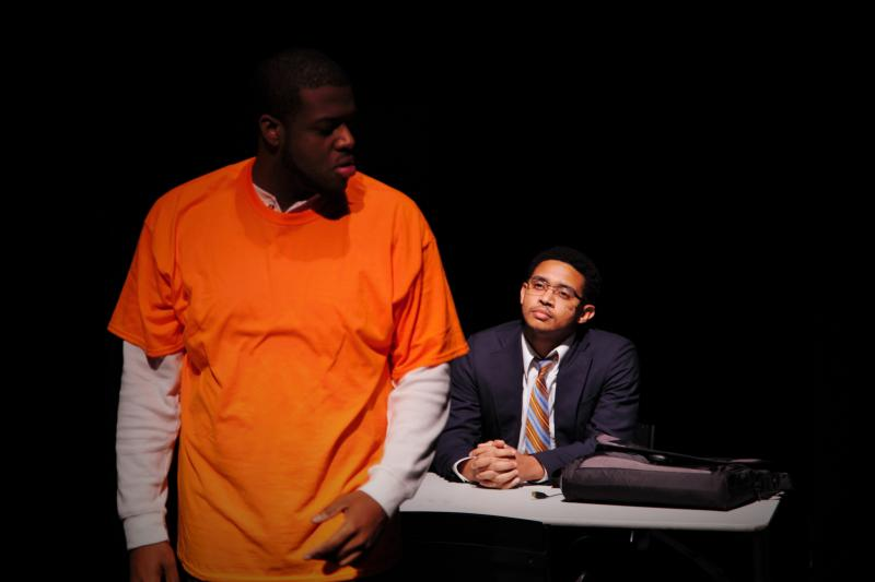 Image of Terrance McAllister as Tyrell and Marcus Zollicoffer as Tracey in the play