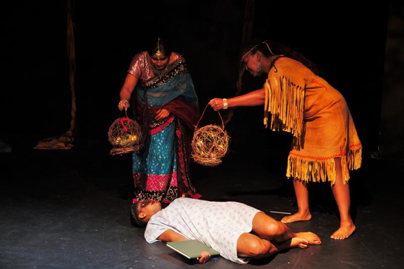 "Image of Seema Kukreja as Udip, Robin Carmon Marshall as Anaba and Alexus Wilcox as Corrine in the play ""From the Boot of Timberland""."