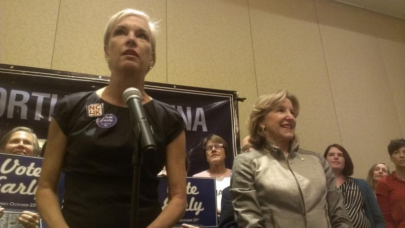 Planned Parenthood's Cecile Richards, left, stumps for Democratic U.S. Sen. Kay Hagan, right.