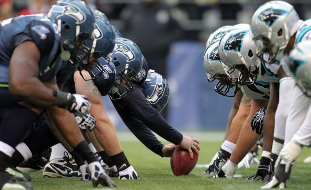 A picture of the Seahawks facing off against the Panthers.
