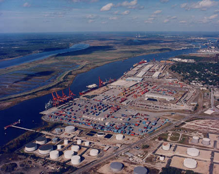 An aerial picture of the Port of Wilmington
