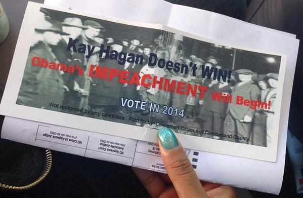 Flyer that includes image of a lynching, placed on cars in Fayetteville on Sunday.