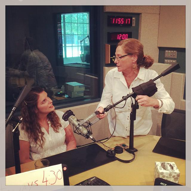 Vivian Howard in the WUNC studios with engineer Robin Copley.