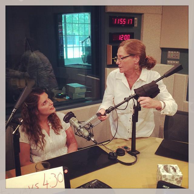 Vivian Howard in the WUNC studios with engineer Robin Copley.