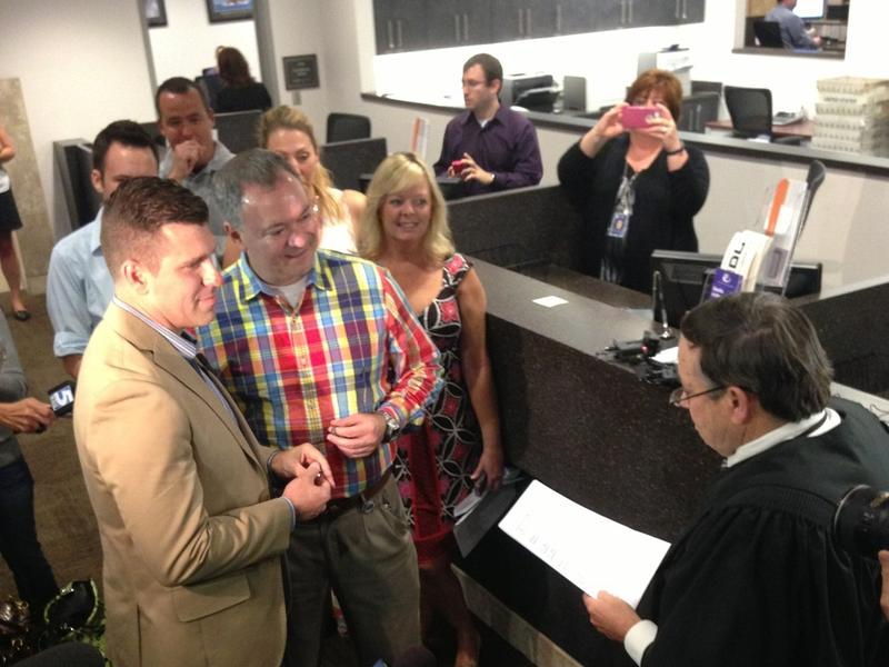 Chad Biggs (left), 35, and Chris Creech, 46, were the first gay couple to be wed in Wake County.