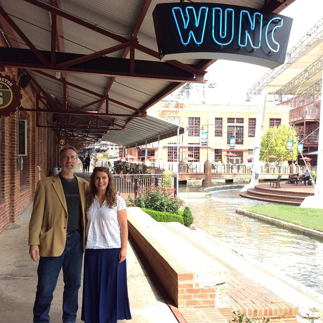 Howard with Frank Stasio outside the WUNC studios.