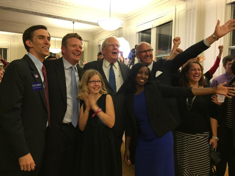 The four Democratic winners pose with Congressman David Price