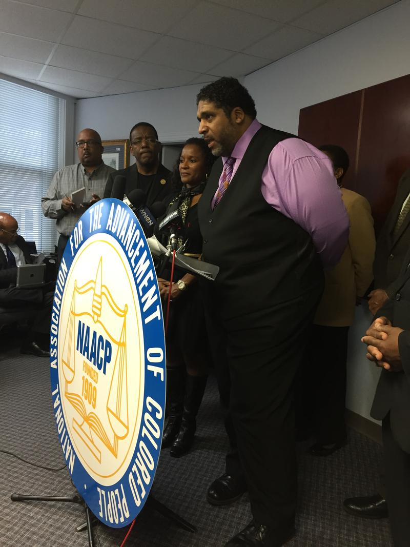 The Rev. William Barber, president of the NC NAACP, addressed reporters on Tuesday morning.