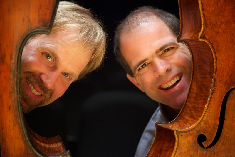 Photo of low and lower bass/cello duo.
