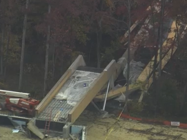 A pedestrian bridge under construction collapsed on Wake Tech campus.