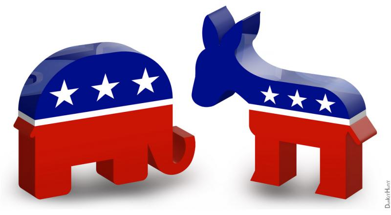 republican elephant, democratic donkey