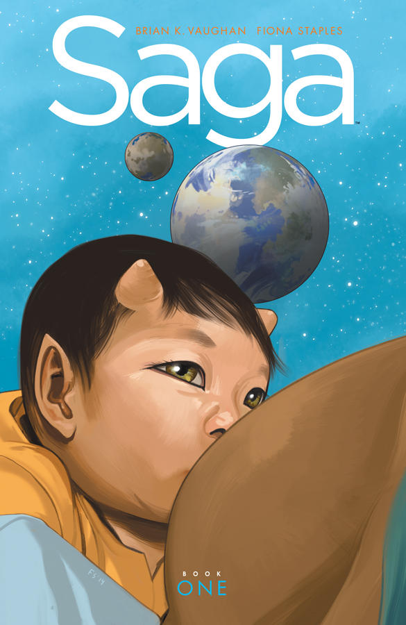 Cover of the new volume of Saga, a comic series co-created by Fiona Staples.