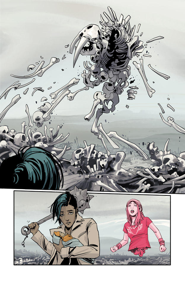 A page of art from the comic series Saga illustrated by Fiona Staples.