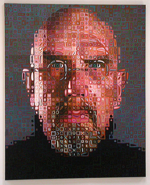 This self portrait of Chuck Close shows the pixelated pianting discussed during today's show.