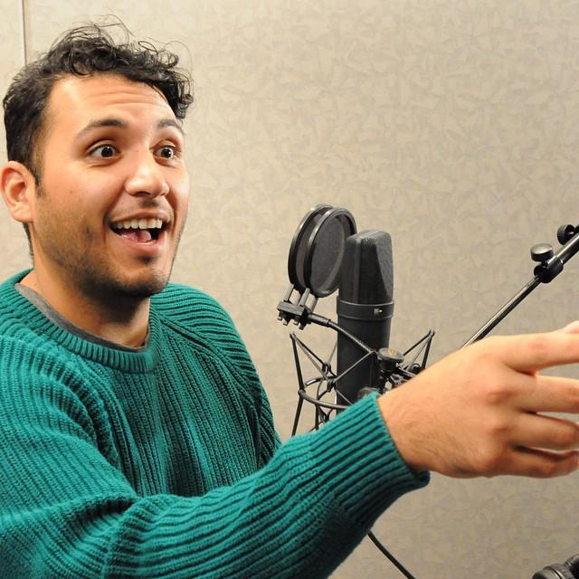 Producer Hady Mawajdeh fulling around behind the mic.