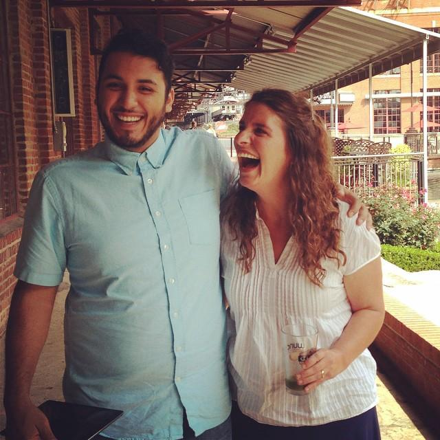 Producer Hady Mawajdeh and Chef Vivian Howard joking around post-interview.