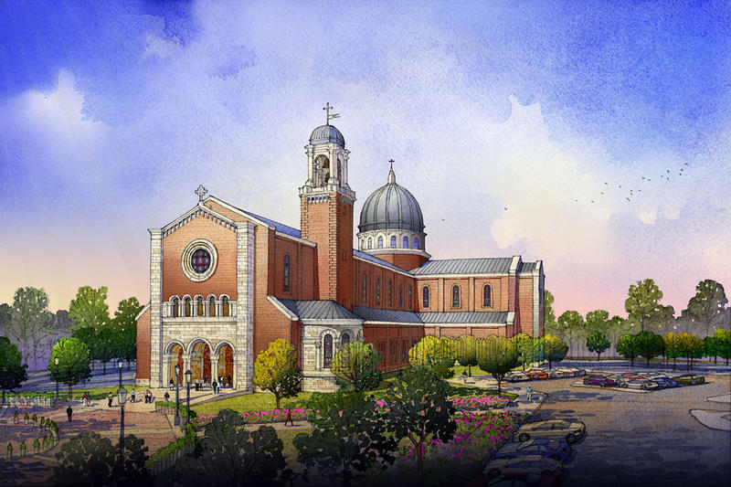 An illustration of the proposed Holy Name of Jesus Cathedral.