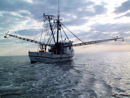 A picture of a shrimp trawler.