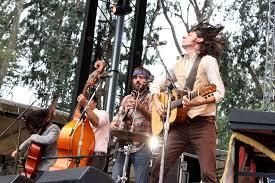 A picture of the Avett Brothers performing at the Outside Lands 2009.