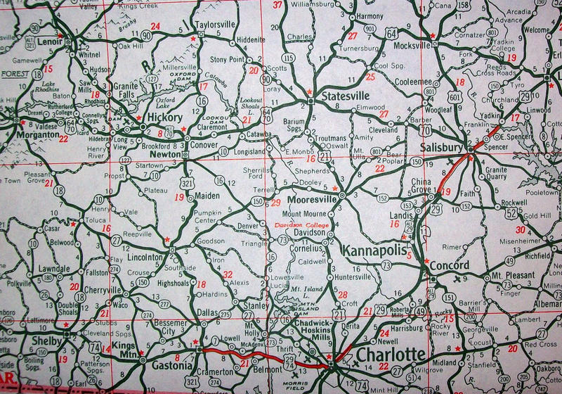 North Carolina Southern Piedmont Region Rand McNally Map circa 1947