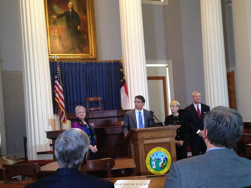Commerce Secretary Sharon Decker, Gov. Pat McCrory, and Department of Environment and Natural Resources Secretary John Skvarla