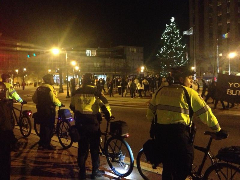 Durham Police at Jesus Huerta protest in December 2013