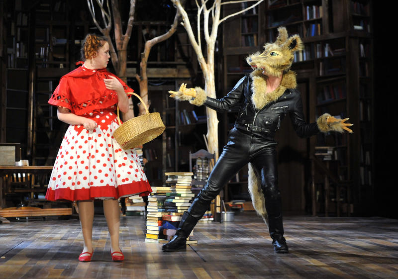 Jessica Sorgi as Little Red Ridinghood and Gregory DeCandia as The Wolf in the PlayMakers production of Sondheim's Into The Woods.