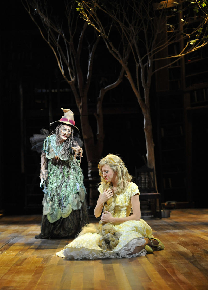 Lisa Brescia as The Witch and Carey Cox as Rapunzel in the PlayMakers production of Sondheim's Into The Woods.