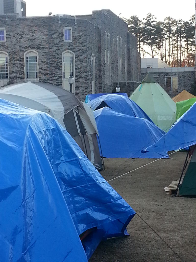 This week did have more than 70 tents lined up outside of Cameron Indoor Stadium.