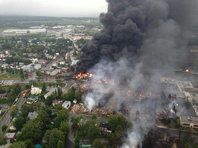 A train carrying crude oil derailed causing a massive explosion in the Canadian town of Lac-Mégantic in July 2013.