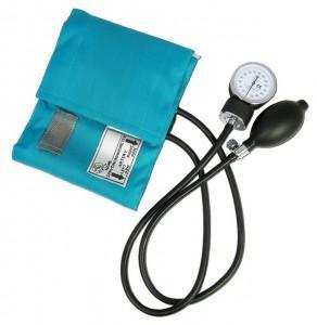 A picture of a blood pressure cuff.
