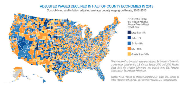 Map Shows Sluggish Economic Recovery For North Carolina Counties - Us cost of living map