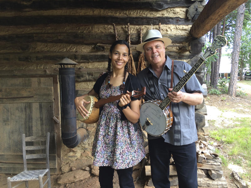 "David Holt and Rhiannon Giddens during the filming of ""David Holt's State of Music."""