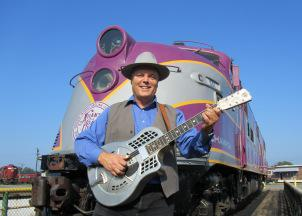 David Holt in Spencer, NC filming Great Scenic Railway Journeys for UNC TV.