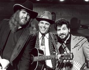Ray Benson, David Holt and Jo-El Sonnier on the set of American Music Shop.