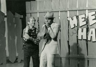 Playing the paper bag with Roy Acuff on Hee Haw.
