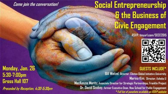 Symposium on social entrepreneurship and civic engagement poster.