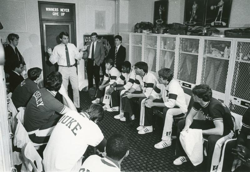 Coach K in the locker room, 1983. This was his third year as the Duke head coach.
