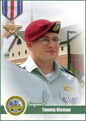 This is Tommy Rieman's card, distributed as a part of the 'America's Army Real Heroes' program