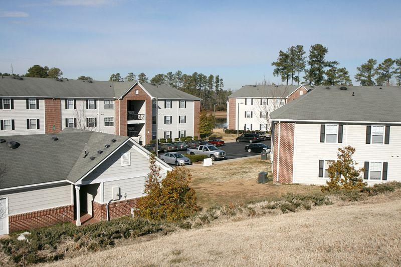 View from the hilltop at Carver Pond Apartments on Meriwether Drive in Durham, North Carolina