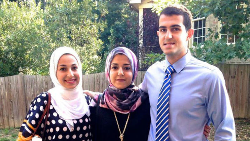 A picture of shooting victims Deah Barakat, Yusor Abu-Salha and Razan Abu-Salha.