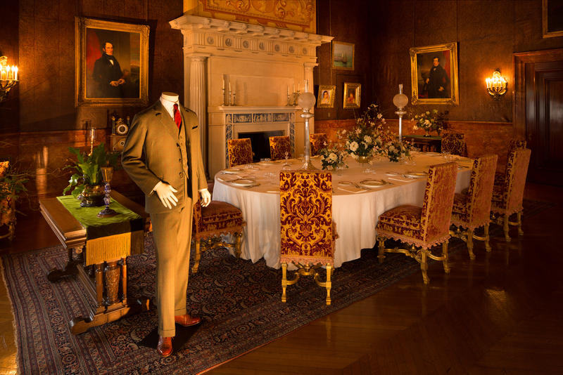 In the Breakfast Room is Matthew Crawley gentleman's attire; wool with long pants, worn in country but slightly more formal.  It was the choice for going into town, visiting neighbors or attending business meetings.