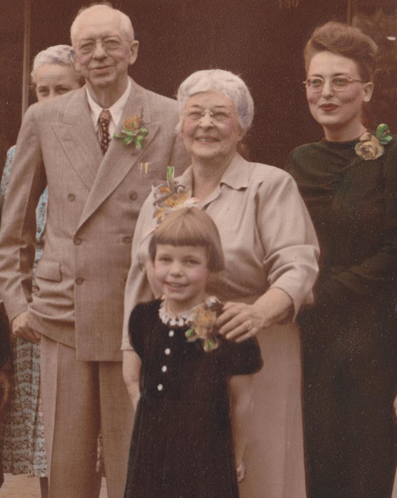 Mary-Dell with her grandparents and mother on the 50th anniversary of the opening of her grandfather's bookstore.
